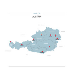 Austria map with red pin vector