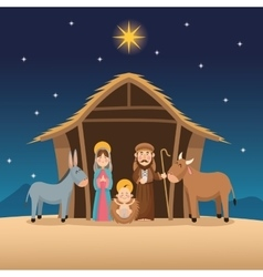 Baby jesus mary and joseph design vector