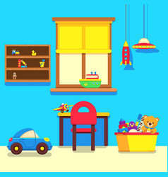 Baby room interior with window work place and vector