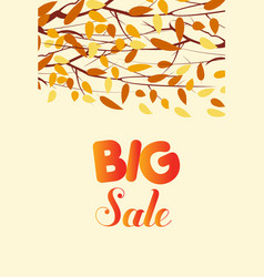 Banner with the words big sale autumn leaves vector