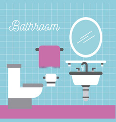 bathroom sink toilet towel paper and mirror vector image