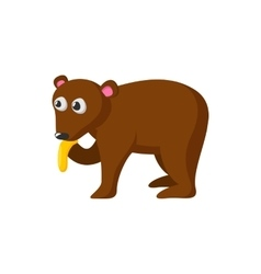 Bear eating honey cartoon icon vector
