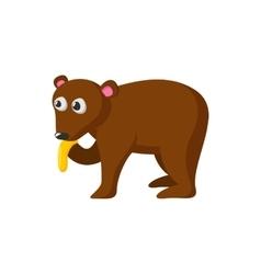 Bear eating honey cartoon icon vector image