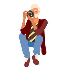 Bearded photographer making shoots amator camera vector