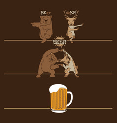 Beer fusion bear and deer vector