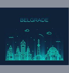 belgrade serbia skyline city linear style vector image