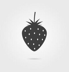 Black strawberries icon with shadow vector