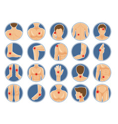 Body pain icon human anatomy parts shoulders legs vector