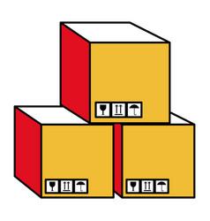Boxes carton isolated icon vector