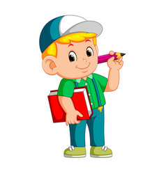 boy holding pencil and carrying book vector image