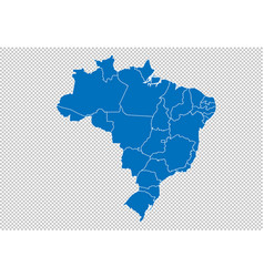 brazil map - high detailed blue map with vector image