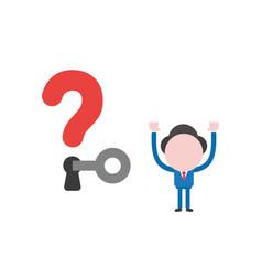 Businessman character unlock question mark vector