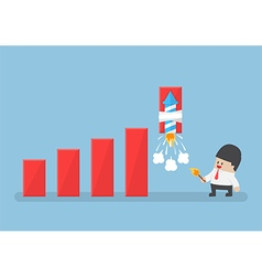Businessman use rocket fireworks to increase graph vector