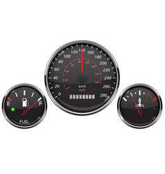 Car dashboard black gauges set fuel gauge vector