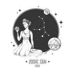 Card with astrology virgo zodiac sign vector