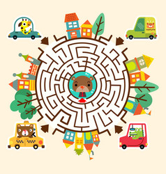 cartoon map with city road and funny maze game vector image