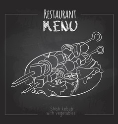 Chalk drawing menu design shish kebab vector
