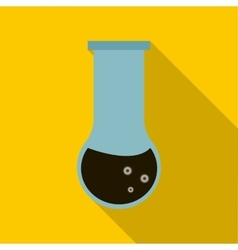 Chemical test tube with oil icon flat style vector image