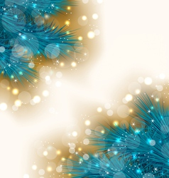 Christmas light background with realistic fir vector image
