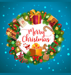 christmas tree gifts and presents wreath vector image