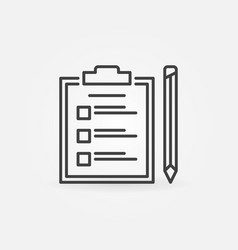 Clipboard with checklist and pencil outline vector
