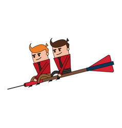 color image cartoon teamwork riding an arrow to vector image