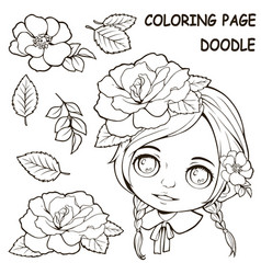 cute girl and flower coloring pages vector image