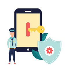 data protection banner with locked device vector image