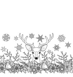 deer and birds outline seamless border vector image