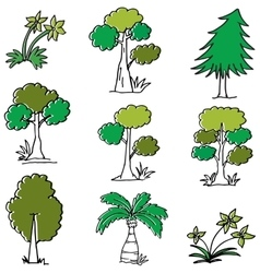 Doodle of tree cartoon vector