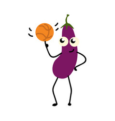 Eggplant twisting basketball on finger isolated on vector