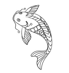 fish in coloring page for childrean and adults in vector image