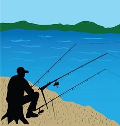 Fisherman on stump vector