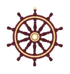 flat boat handwheel ship wheel helm vector image