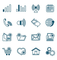 Flat line web icons set vector image