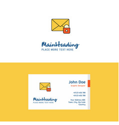 Flat secure mail logo and visiting card template vector