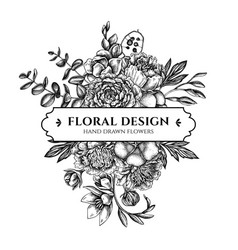 Floral bouquet design with black and white ficus vector