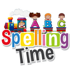 Font design for word spelling time with kids on vector