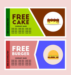 free burger and cake coupon vector image