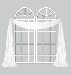 french window and white curtain isolated on a gray vector image