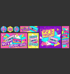 funky 90s disco party poster nineties music hits vector image