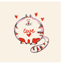 funny cute round cat with word love on belly vector image