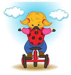 Girl with backpack in form of ladybug rides vector