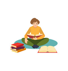 girl woman student reading sitting on floor vector image