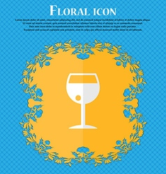 Glass of wine Floral flat design on a blue vector