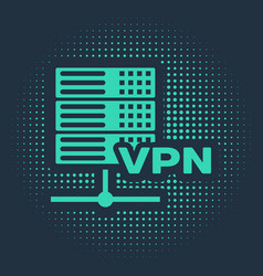 Green server vpn icon isolated on blue background vector