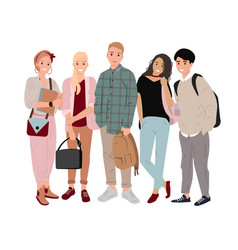 Group happy students in flat style vector