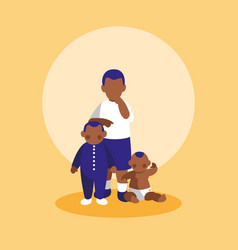 group of little black boys characters vector image