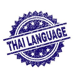 Grunge textured thai language stamp seal vector