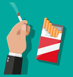 hand with cigarette smoking vector image